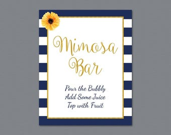 Mimosa Bar Sign Printable, Bubbly Bar Sign, Cocktail Drink Sign, Navy Blue Kate Spade Wedding Sign, Baby Shower, Bridal Shower Decor, A027