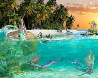 Mermaids, beach, digital background, mermaid png, fairy tail, fantasy