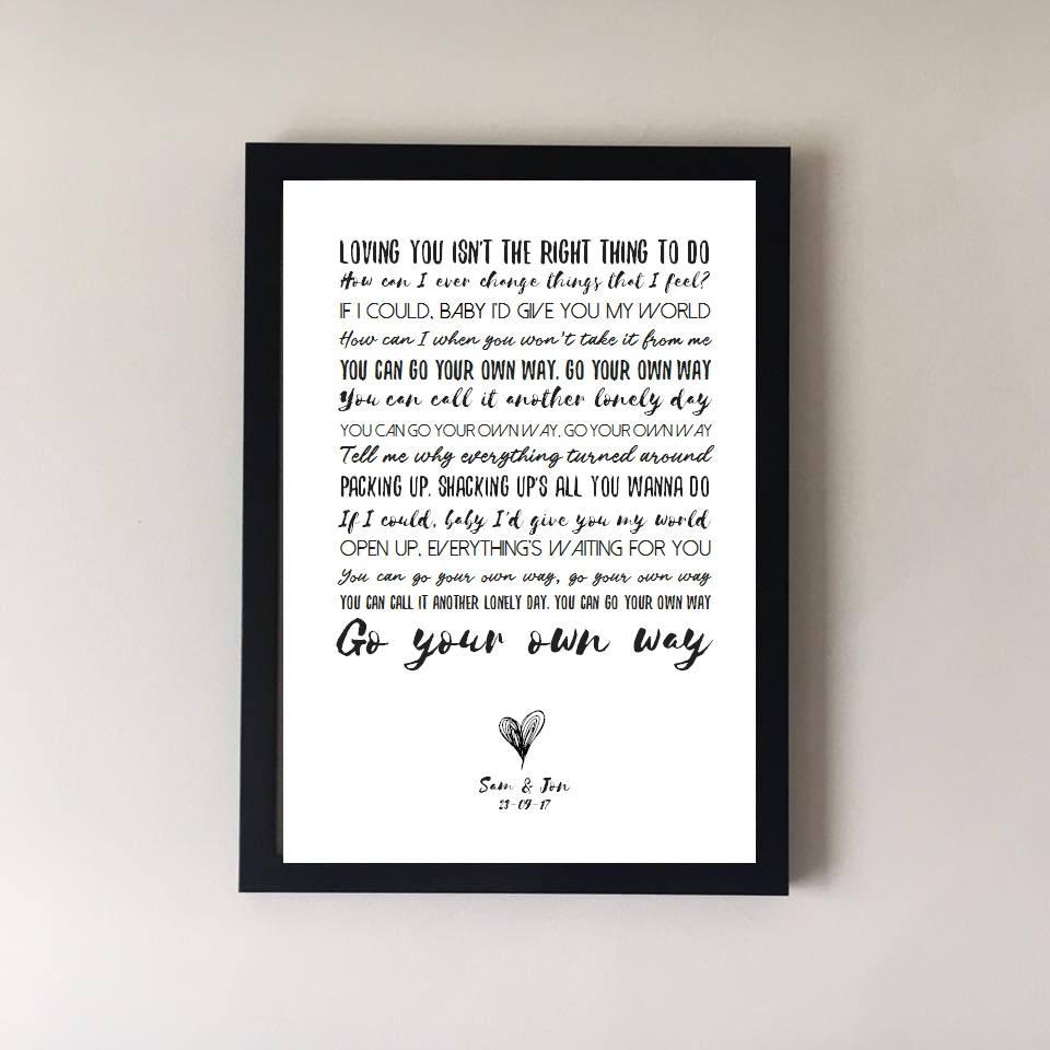 Go Your Own Way Song Lyrics Print Fleetwood Mac Wedding