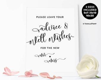 Advice And Well Wishes Sign, Wedding Advice Sign, Advice For The Bride And Groom, Rustic Wedding Decor, Wishing Well Wedding Printables