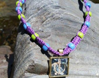 Hemp Necklace- Purple Sea Turtle