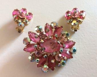 Gorgeous Delizza & Elster 'Juliana' Pink Rhinestone Brooch and Earrings  Demi Parure