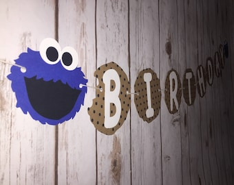 Cookie Monster Birthday - Happy Birthday - Banner