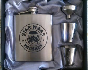 Star Wars Trooper Whiskey Flask // Engraved Flask // His Gift  // Fun Flask // Party Favor // Men Flask // 21st Birthday Gift