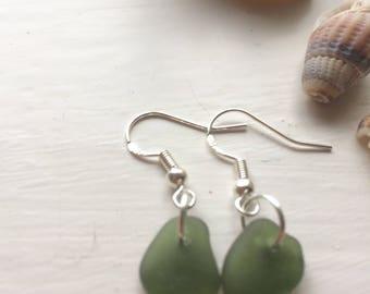 Seaglass earrings, Cornish seaglass, sage green seaglass