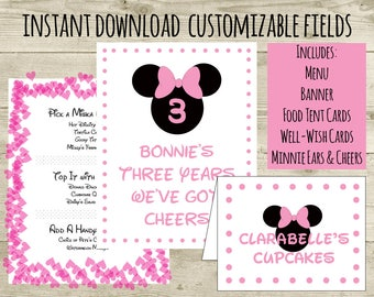 Minnie Mouse Birthday Printable Party Pack, Instant Download, digital party decorations, Editable PDF, Girl Birthday Decorations