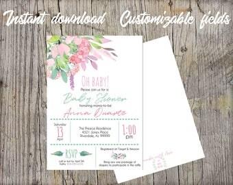Floral Eucalyptus Printable Baby Shower Invitation, Instant Download, Invitation printable, editable PDF, Greenery garden baby shower invite
