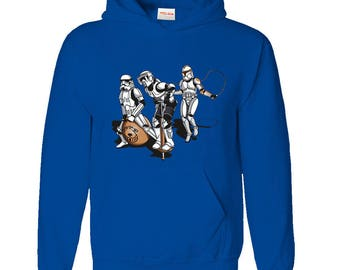 Inspired Funny Trooper Skipping Game Hoodie (Size - Large, Main Colour - Blue)