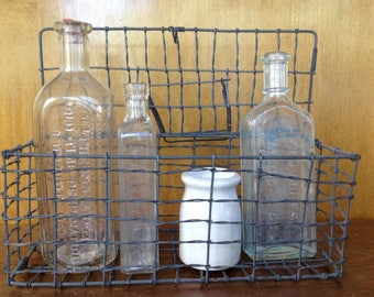Vintage Wire Basket with Lid and Handle