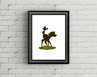 Bambi with butterfly - Disney Inspired Silhouette - DIGITAL PRINT DOWNLOAD