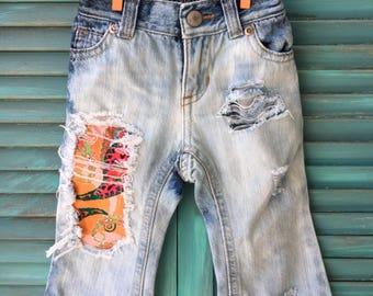 6-12 month custom distressed denim jeans