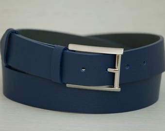 Leather Belt, Blue Leather Belt, Mens Belt