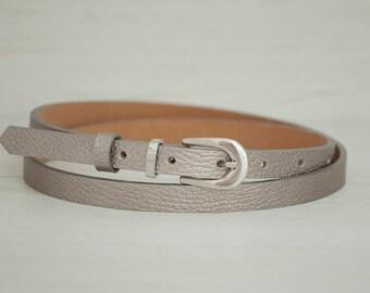 Leather Belt, Silver Leather Belt, Pewter Silver Womens Belt, Skinny Belt, Thin Belt, Dress Belt