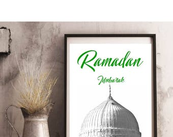 Ramadan Mubarak, PRINTABLE, arabic decor, islamic decor, ramadan, muslim gift, islam, digital, download