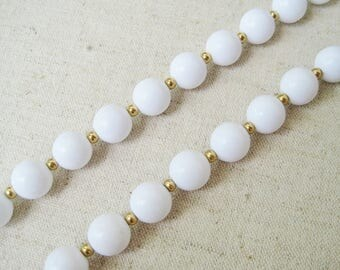 Monet White Necklace, Vintage Necklace, Monet Jewelry, Gold Tone, Beaded Necklace, Long Layering Necklace, Summer Jewelry, Gift For Her