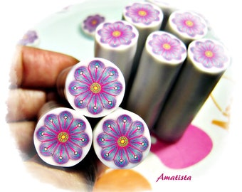 Polymer clay flower cane: Raw polymer clay cane - Millefiori cane supplies - Magenta-turquoise flower cane - Supplies for jewelers