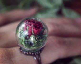 Rose flower ring,terrarium,real plant ring,resin art,boho style,ring,,pressed flower,botanical,miniature,best gift for her,nature inspired