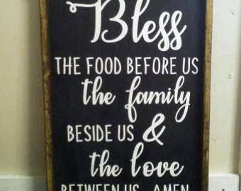 Bless The Food Before Us Wooden Signs Home Decor Kitchen Decor Country Decor Primitive Decor Rustic Decor Farmhouse Decor