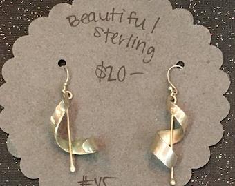 Sterling Silver Modernist Twist Dangle Earrings