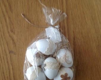 Set of 6 white Easter eggs