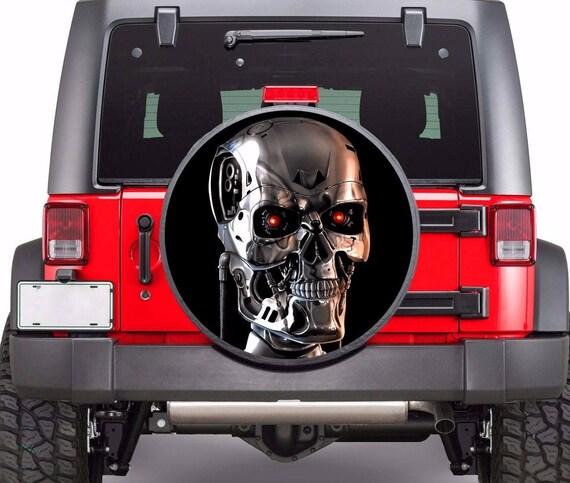 Skull Terminator Full Color Spare Wheel Cover Vinyl Decals