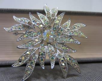 Sparkly Aurora Borealis Sarah Coventry Rhinestone Flower Brooch