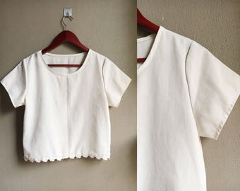 90s Crop Top White Lace Blouse Vintage Minimal Silk Tee Womens Small Medium- Free shipping