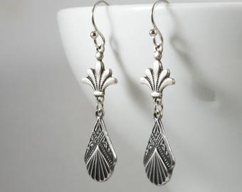 Art Deco Drop Earrings, Sterling Silver Plated Connector, Fleur de lis Earrings, Edwardian Earrings, 1920s, Downton Abbey, Handmade UK Gifts