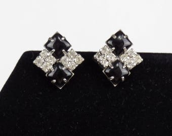 Black and Clear Rhinestones Clip Earrings / Prong Set