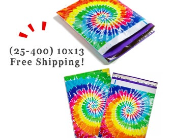 "FREE SHIPPING! (25-400 Pack) 10x13"" Tie Dye Designer Poly Mailers"