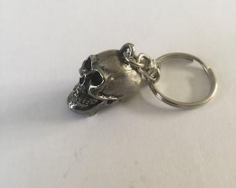 Skull 3D Pewter Keyring Handmade In UK