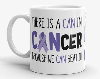 Esophageal Stomach Cancer Awareness Coffee Cup Can Beat It Novelty Ceramic Mug Periwinkle Ribbon Custom Gift Survivor Support 11 & 15 ounce