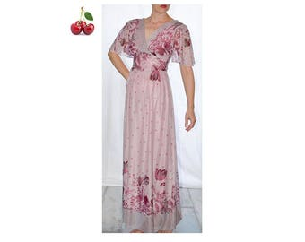 Vintage 90s floral maxi dress s dress purple voile floral long dress pink lilac dress Bohemian romantic dress floral print