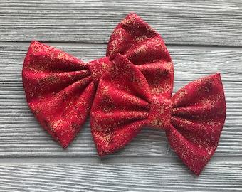 Red & Gold Fairy Frost Bow - Baby Bow - Girls Bow - Hair Clip - Hair Bow - Bow - Glitter Bow - Headband