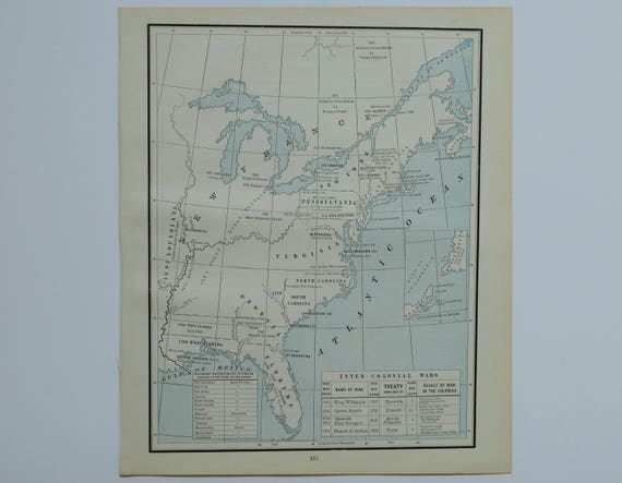 American Revolution Antique Map Old US Map Colonial - 1888 us map