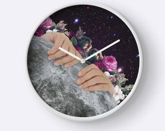 Moon Clock, Planet Clock, Flower Wall Clock, Space Clock, Plant Wall Clock, Unique Wall Clock, Hanging Clock,