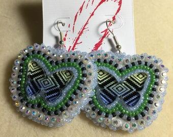 3D BlueGreen Butterfly Earrings