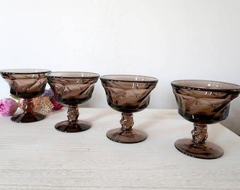 4 Fostoria Jamestown Brown Sherbet Dish / Champagne Glass, Vintage Glassware, Vintage Stemware, Vintage Barware, Fostoria Stem