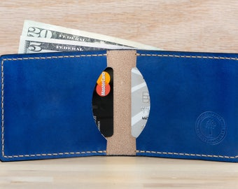 Mens Leather Wallet • Slim Wallet • Minimalist Front Pocket • Bifold Wallet • Premium Hermann Oak • Made in USA • Cobalt Blue