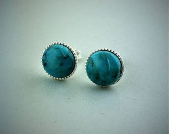 Sterling Silver .925 Turquoise Gemstone Cabochon Stud Earrings