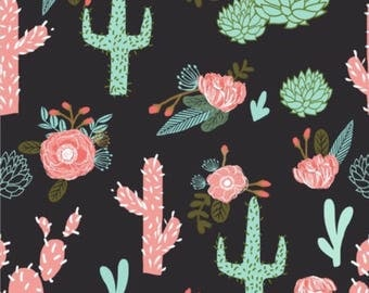Floral Desert Cactus | Standard Fitted Crib Sheet | Changing Pad Cover | Boppy Pillow Cover
