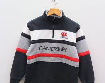 Vintage CANTERBURY Of New Zealand Big Logo Black Sweater Sweatshirts Size M