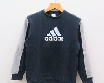 Vintage ADIDAS Triline Big Logo Sportswear Black Sweater Sweatshirt Size L