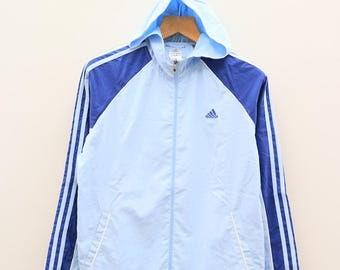 Vintage ADIDAS Trefoil Small Logo Sportswear Blue Windbreaker Size L