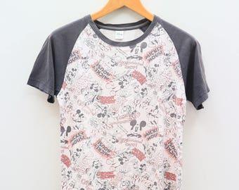 Vintage MICKEY MOUSE Disney Cartoon Animation White Tee T Shirt Size M