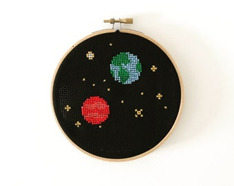 Earth and Mars space cross stitch wall hanging