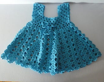 Crocheted baby girl dress in blue, Flowergirl's dress, special occasion dress, Little girl dress, size 1-4 years, party dress, Summer dress