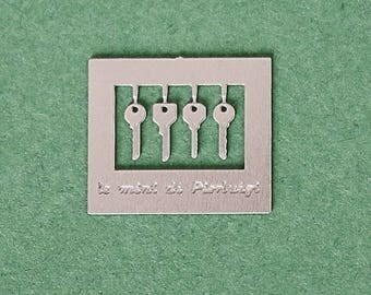 door keys in modern style - made in nickel silver - dollhouse 1:12th scale - miniature for dolls