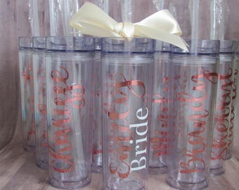 BULK 8 Customized Skinny Tumbler - Rose Gold Skinny Tumbler - rose gold tumbler - Bridal Party Gifts - Christmas Gift for Coworkers