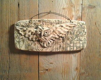 Owl in Flight - ceramic tile with hand drawn background, weathered white finish.